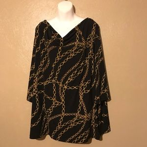 Susan Graver black and gold top size 3X polyester